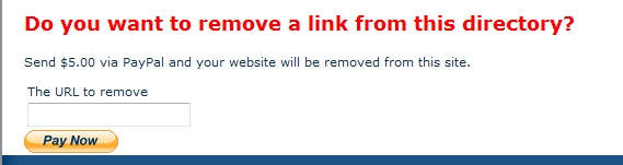 Pay to remove link from directory