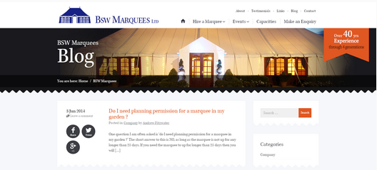 BSW Marquees blog design