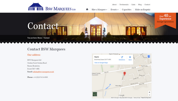 BSW Marquees contact page