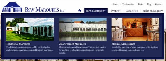 BSW Marquees menu design