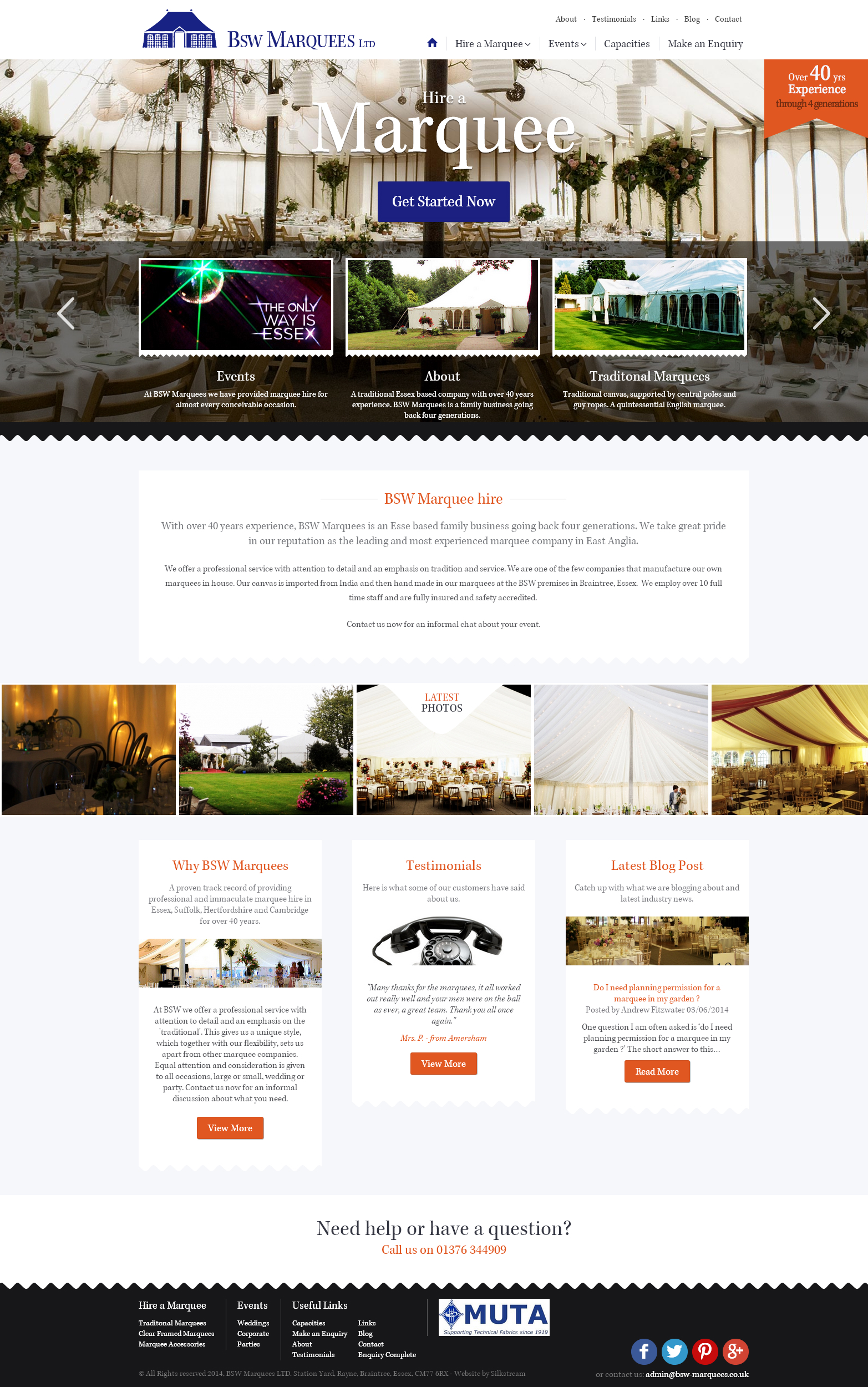 BSW Marquees website design