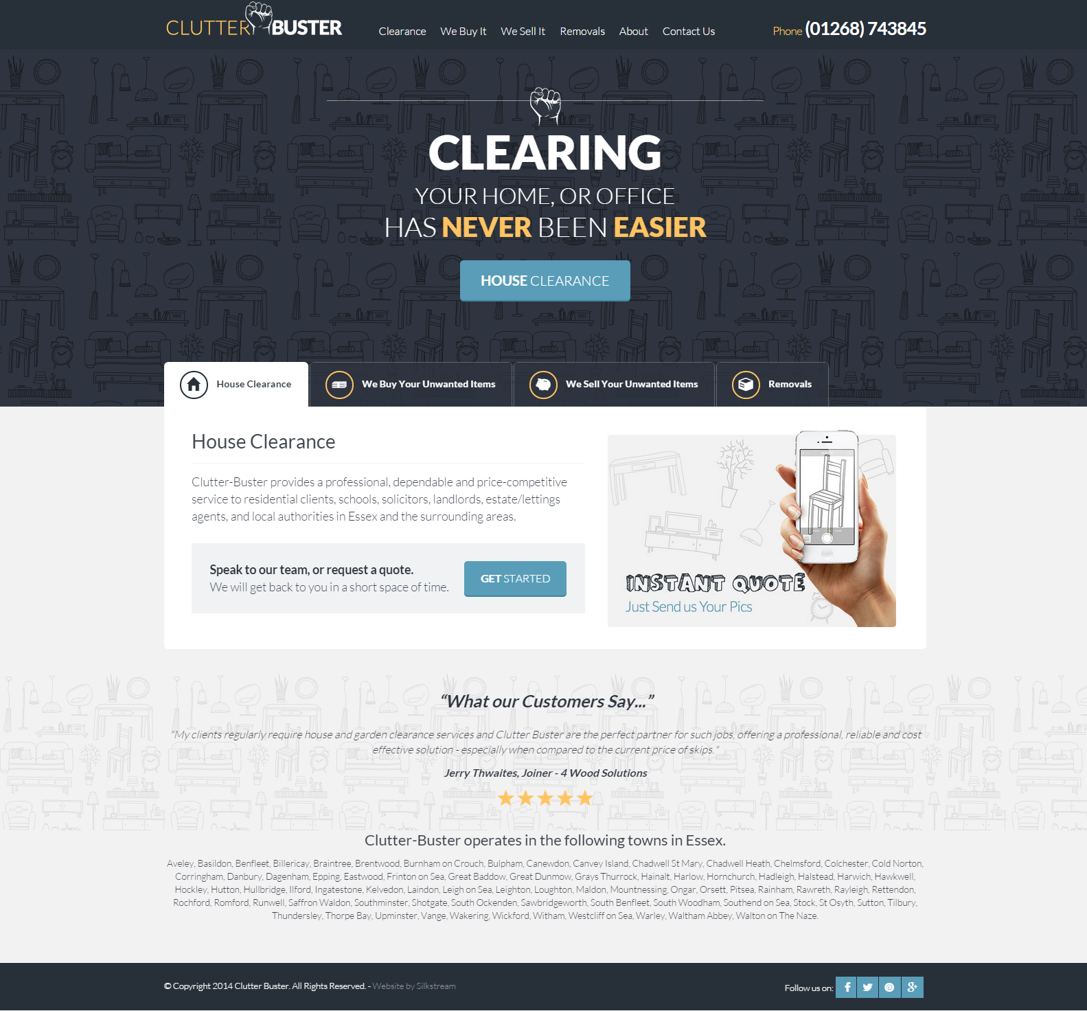 Clutter Buster Homepage web design