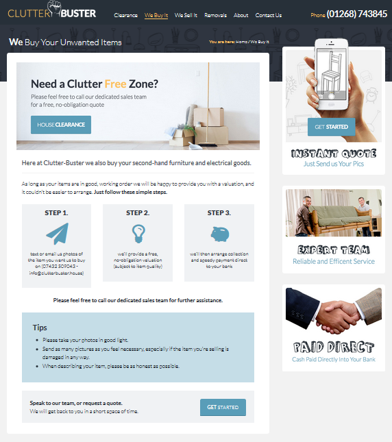 Clutter Buster Landing Page design