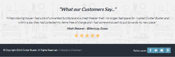 Clutter Buster testimonials design