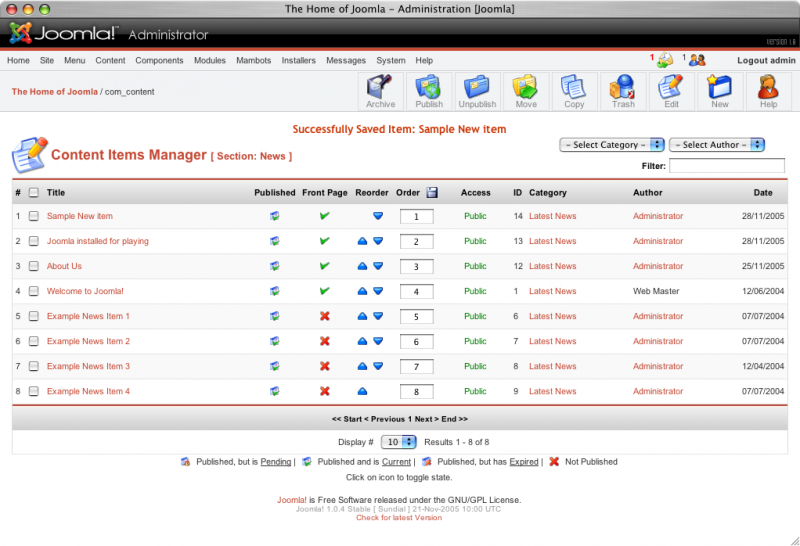 Joomla User Interface
