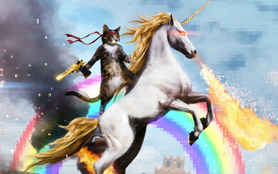 Cat Riding a Unicorn