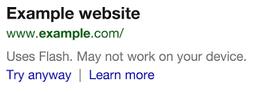 Google Flash Warning