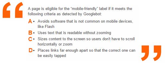 Google Webmasters: Mobile Friendly Label