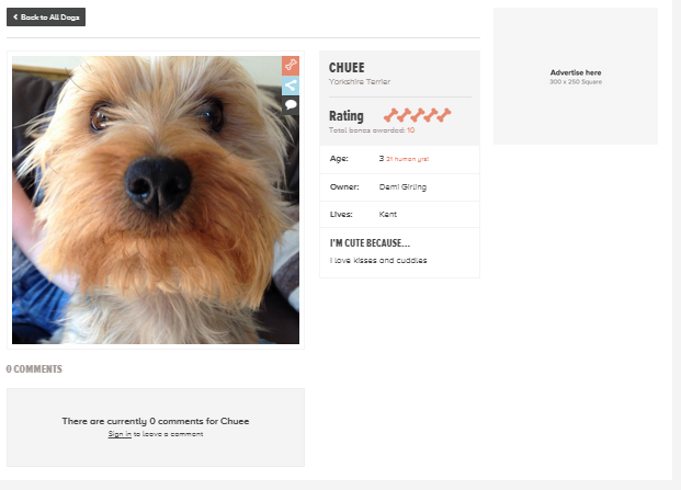 How Cute Is My Dog Profile Page