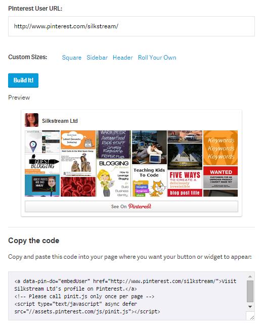 Embed Pinterest Profile