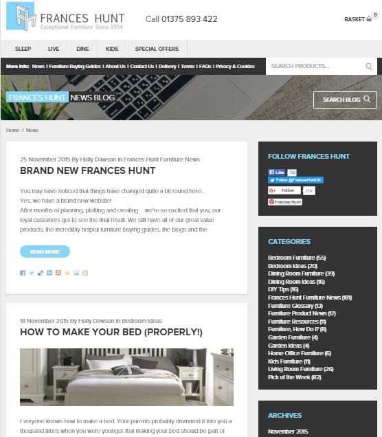 Frances Hunt Blog Design