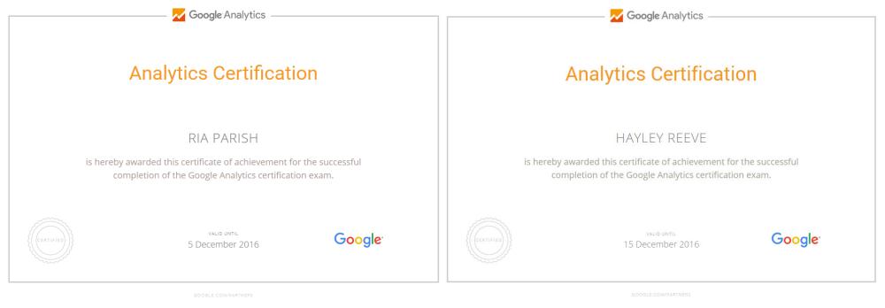 Silkstream Google Analytics certificates