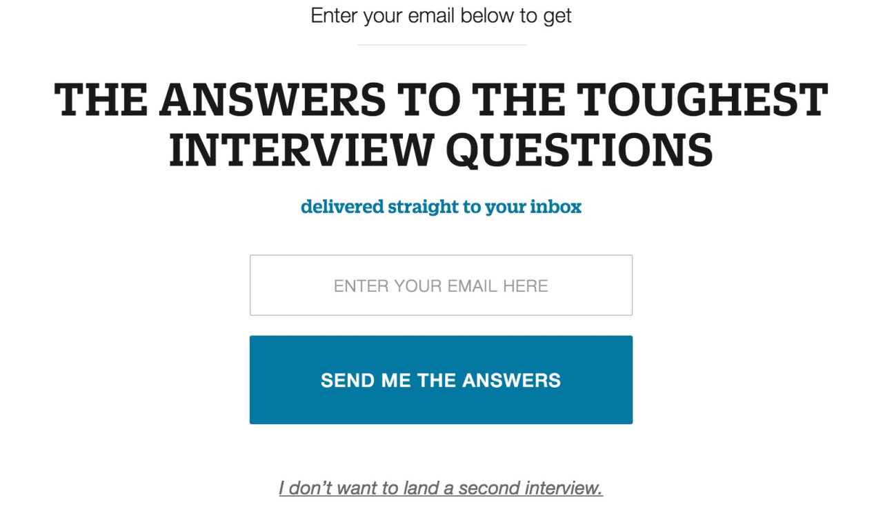 I don't want to land a second interview