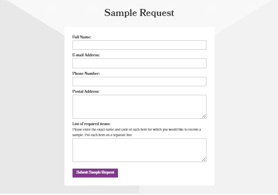 The Lining Company sample request design