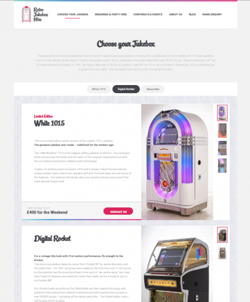 Retro Jukebox Products Page Design