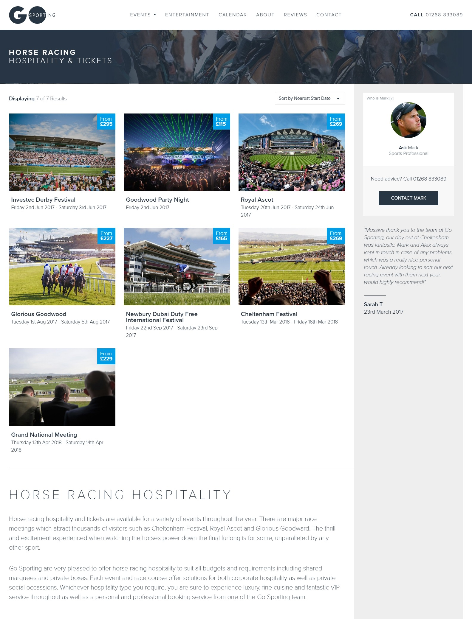 Go Sporting Event Category Page