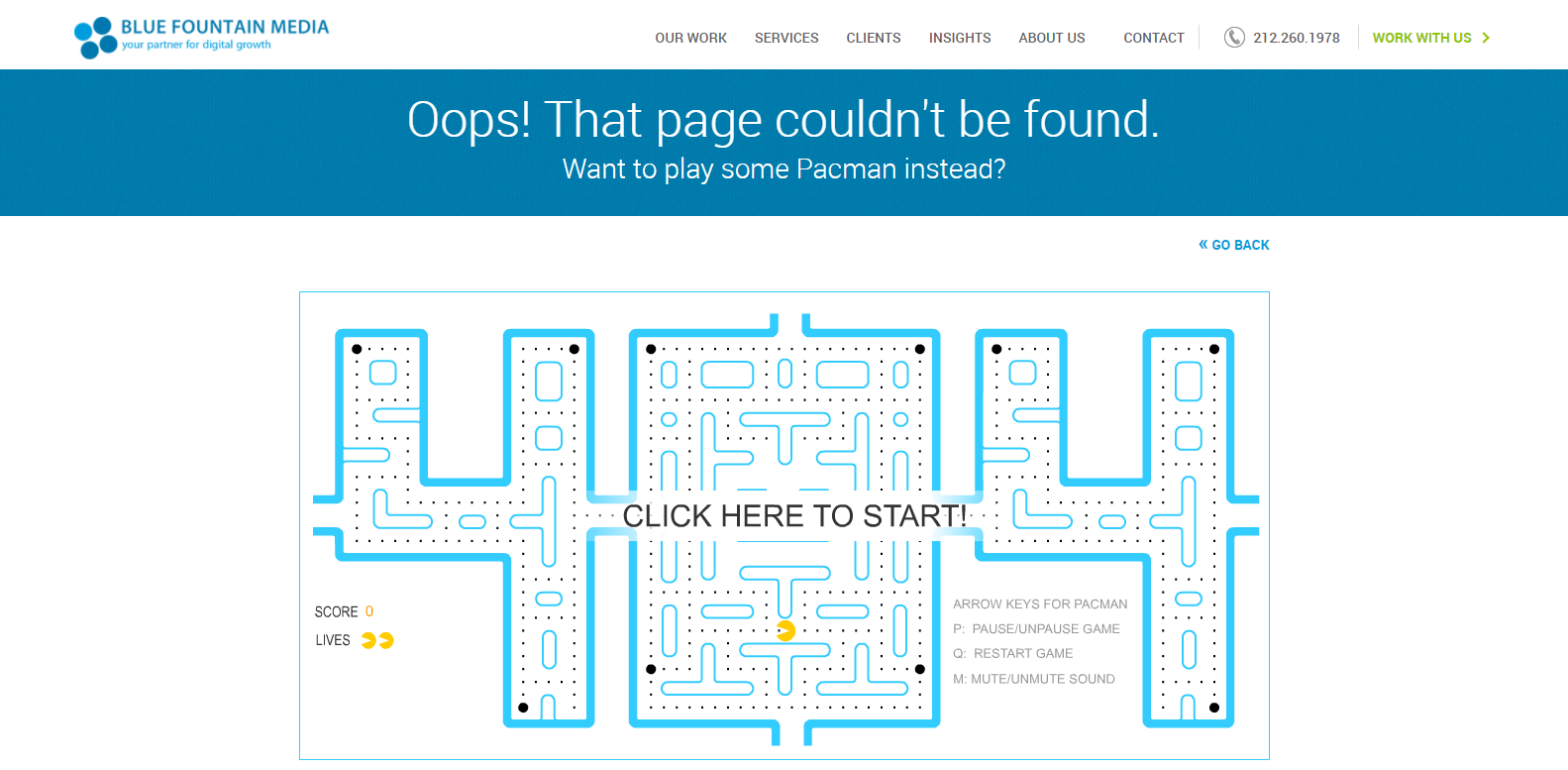 Blue Foundation Media 404 page