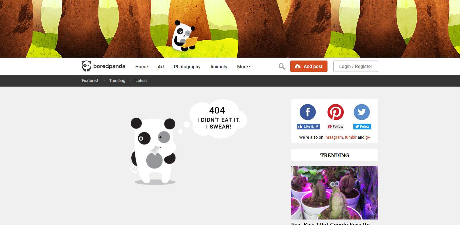 Bored Panda 404 page