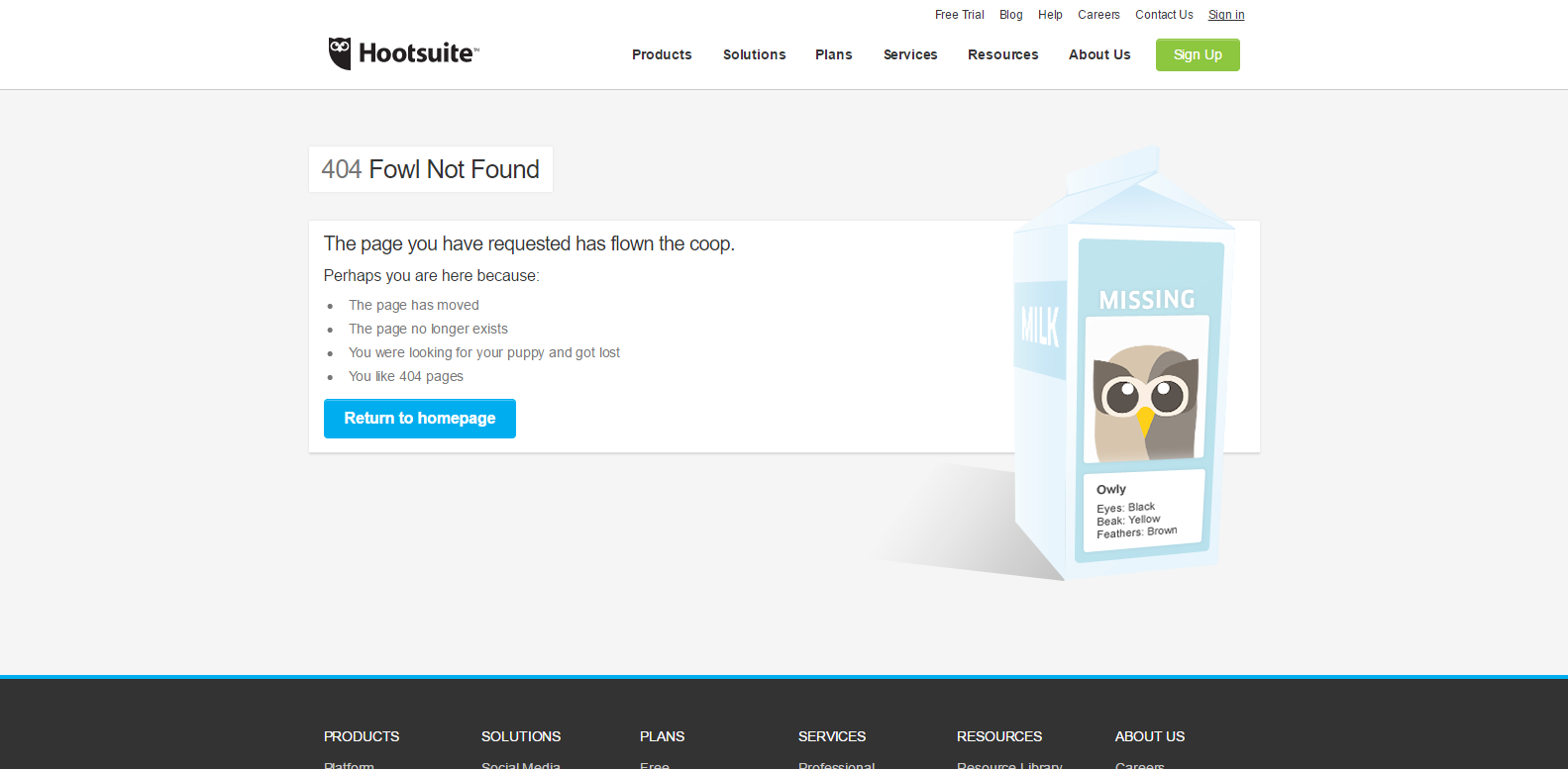 Hootsuite 404 page