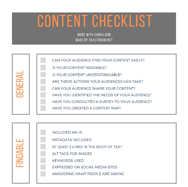 Checklist Part 1
