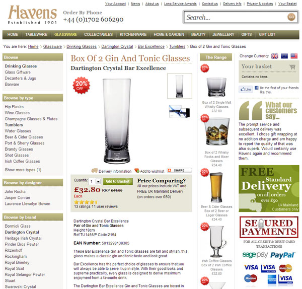 havens old product page