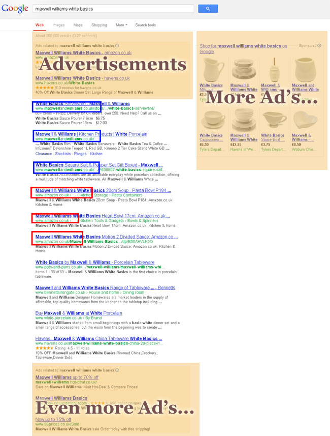 "Screenshot of Google SERPS for ""Maxwell Williams White Basics"""
